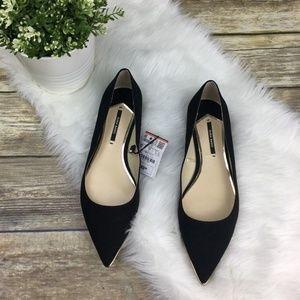 NWT Zara Basic Women's Black Suede Pointy Flats